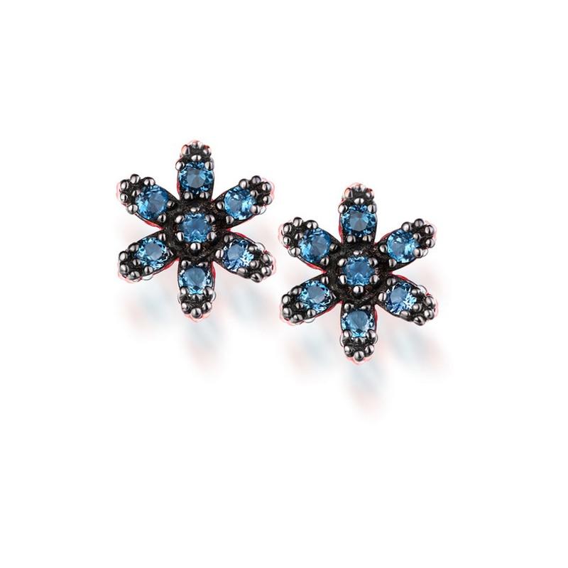 JXXGS Blue Topaz 14K Gold Earrings Fashion Snowflake Stud Earrings Rose Gold Color Earrings For Women