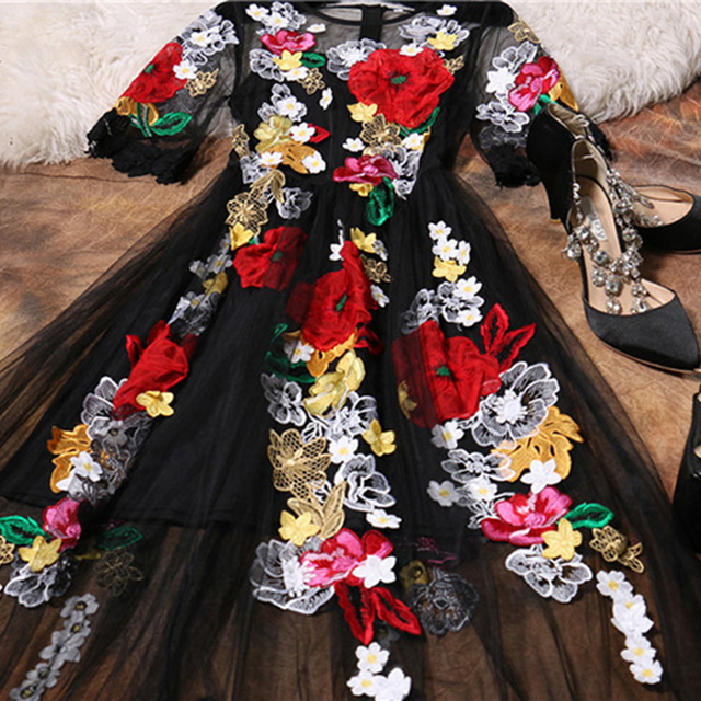 Black Mesh Embroidery Women Long Dress
