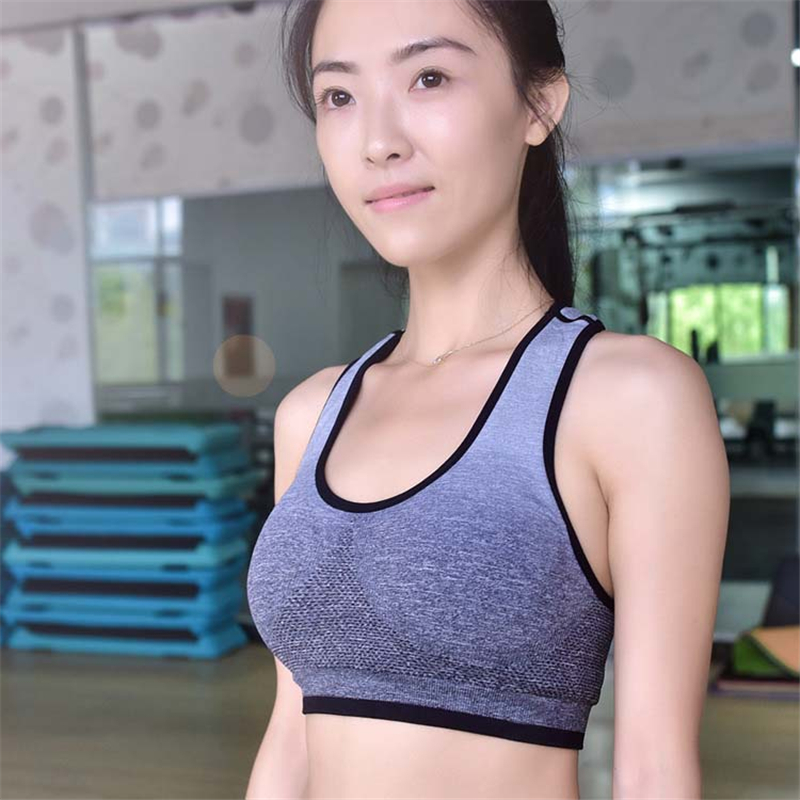 9d244166e2a US $8.93 15% OFF|Hottest Women Yoga Athletic Sports Bras Female Crop Tops  Seamless Racerback Padded Vest Gym Fitness 4 colors High Quanlity-in Sports  ...