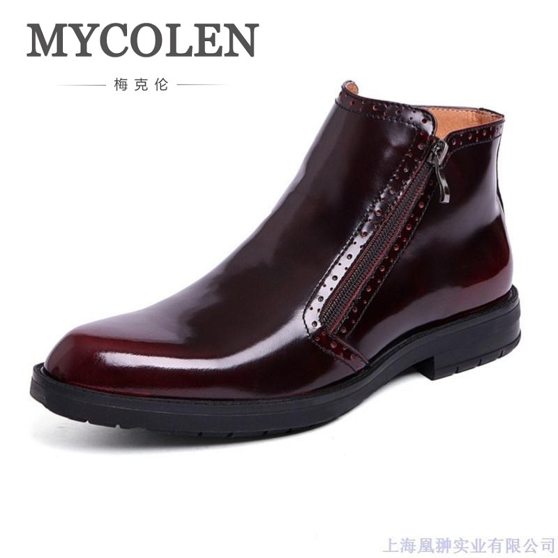 MYCOLEN Men Boots Genuine Patent Leather Italian Black Luxury Fashion Casual Ankle Boots Men Shoes Male For Wedding Business new fashion men luxury brand casual shoes men non slip breathable genuine leather casual shoes ankle boots zapatos hombre 3s88
