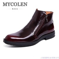 MYCOLEN Men Boots Genuine Patent Leather Italian Black Luxury Fashion Casual Ankle Boots Men Shoes Male For Wedding Business