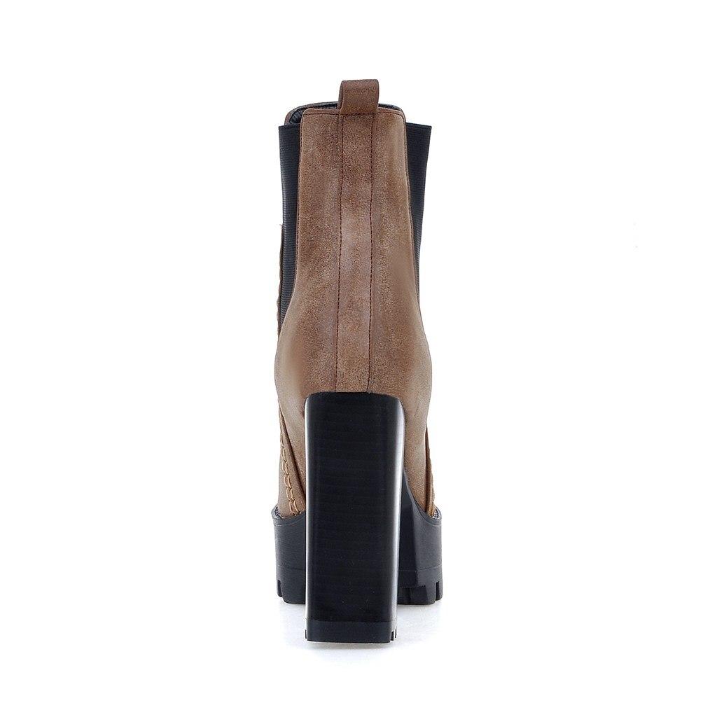 Chaussures Noir 2018 Bottes Femmes forme Talons Plate Chelsea Noir gris Élastique Mode Hauts Carré Bottines Brun Bande D'hiver Gris À Femelle marron IHED9W2Y