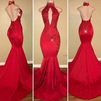 Red Mermaid Prom Dresses for African Black Girls 2019 Vestido De Festa Sexy Backless Halter Lace Runway Fashion Party Gowns