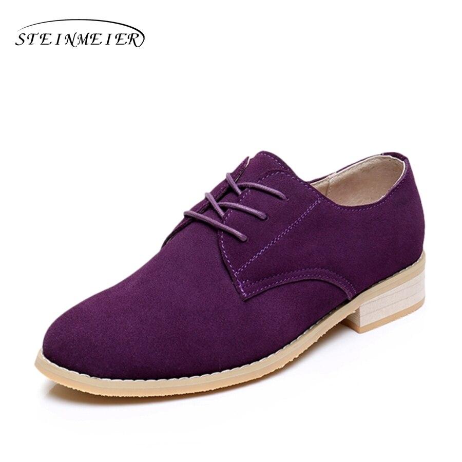 Genuine leather big woman US size 11 designer vintage flat shoes round toe handmade purple 2018