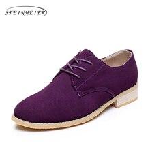 Дизайнерские винтажные женские туфли на плоской подошве из натуральной кожи больших размеров США 11 фиолетовые женские туфли-оксфорды ручной работы с круглым носком 2017 год