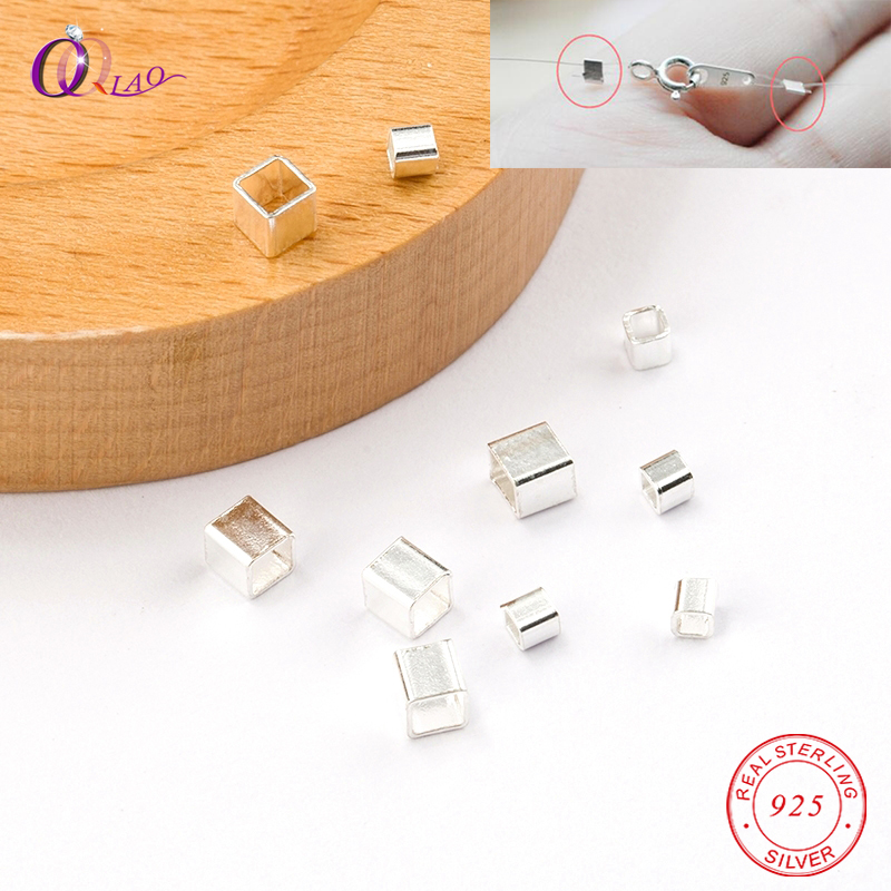 10 PCS 925 Sterling Silver Square Crimp & End Beads 2mm 3mm Silver Crimps Silver End Beads For Jewelry Making Jewelry Findings