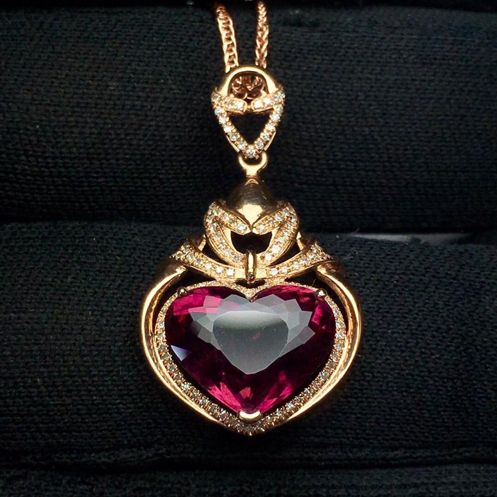 Tourmaline Pendant Fine Jewelry Real 18 K Gold 100% Natural Rubi Tourmaline 4.85ct Gemstones Diamond Pendant NecklaceTourmaline Pendant Fine Jewelry Real 18 K Gold 100% Natural Rubi Tourmaline 4.85ct Gemstones Diamond Pendant Necklace