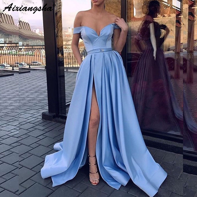 2018 Sky Blue   Prom     Dresses   with Pockets Side Slit Strapless Satin Elegant Long Evening Party Gowns Wine Red Women Formal   Dress