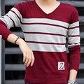 2016 Autumn new men's fashion sweater Slim trend V-neck men's Korean stripe soft leisure base shirt long-sleeved sweater M-3XL