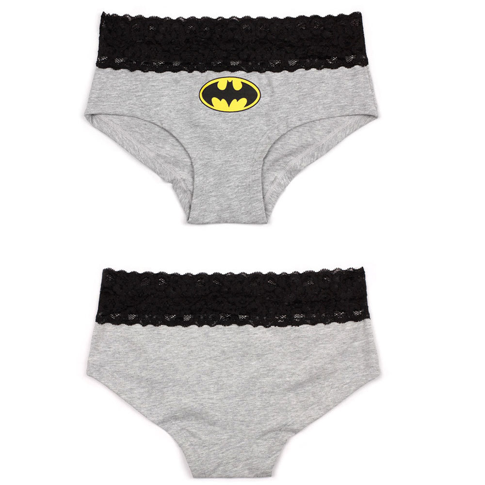 Women Briefs HERO Batman Superman Sexy Cartoon Printed Lace Cotton Panties Breathable Ropa Interior Triangle Female Underpants