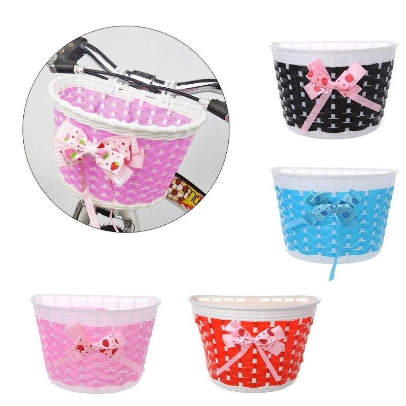 Outdoor Bicycle Scooter Basket Children Bike Plastic Knitted Bow Knot Front Handmade Bag Bicycle Shopping Basket For Pet Cats