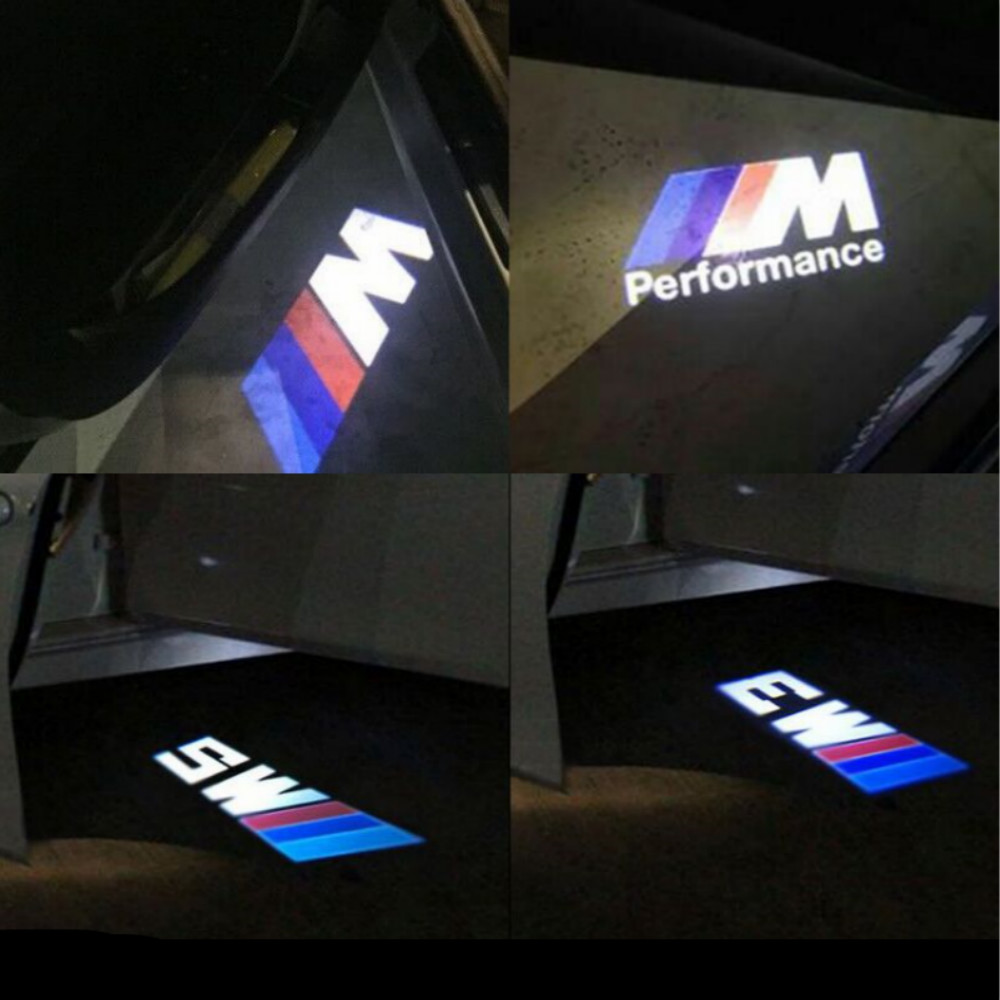 JURUS 2pcs LED Car Door welcome Light For BMW M3 M5 M performance logo Car Door Welcome Light LED Ghost Shadow Light car-styling kaneed 2x car led door logo projector ghost shadow light for audi bmw vw honda car door led welcome decorative light brand logo