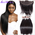 Brazilian Straight Hair With Ear to Ear Frontal Closure 8A Brazilian Virgin Hair Straight 3/4 Bundles With Closure Human hair