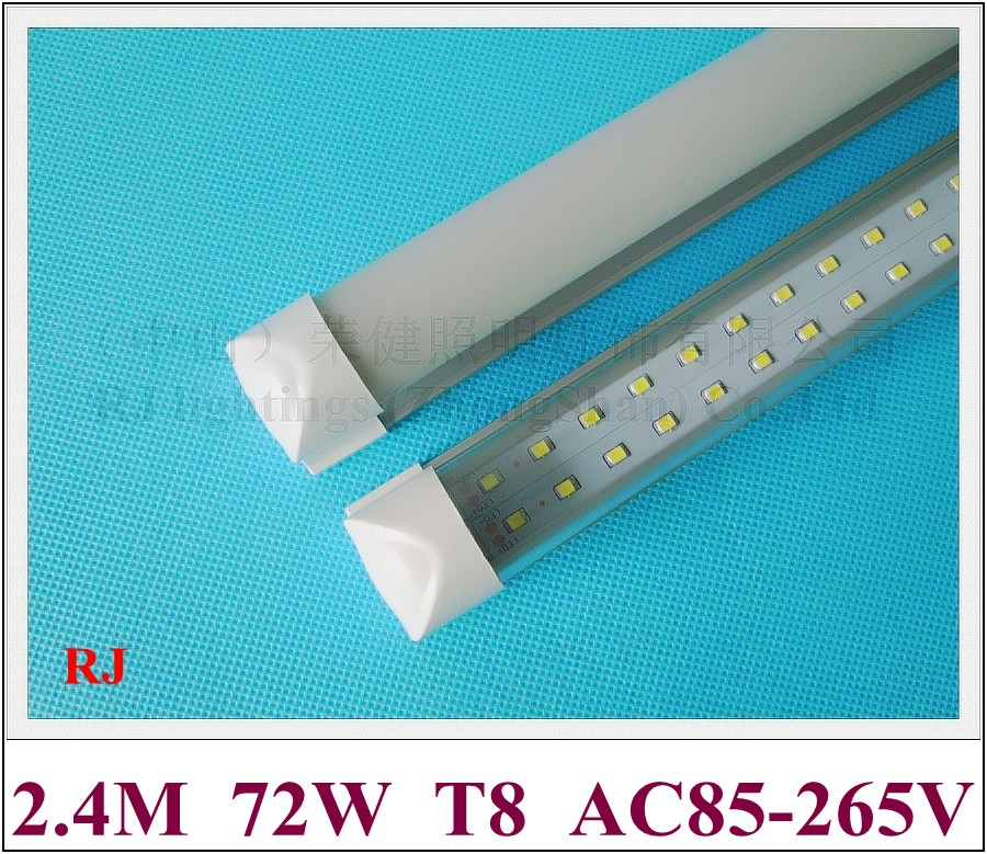 Compact Integrated(all In One) LED Tube Light Double Row T8 2400mm 2.4M 8FT SMD 2835 384led(4*96led) 72W Super Bright CE