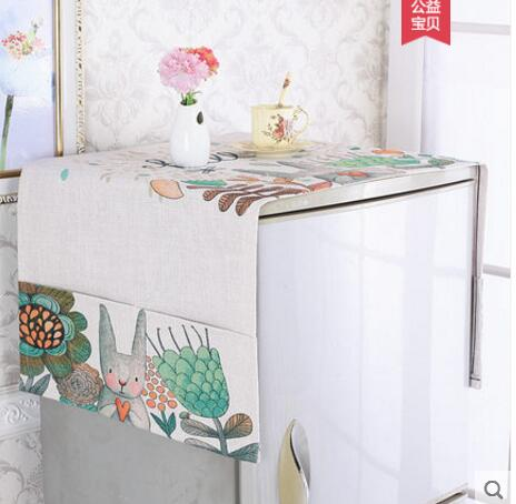 Cotton linen tablecloth nightstand multi-purpose hood towel cover double door microwave dust tablecloths