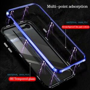 Image 2 - Luxus Magnetische Adsorption Fall für iphone 7 8 Ultra Magnet Metall Klar Gehärtetem Glas Magneto Telefon Abdeckung Für iPhone 7 8 plus