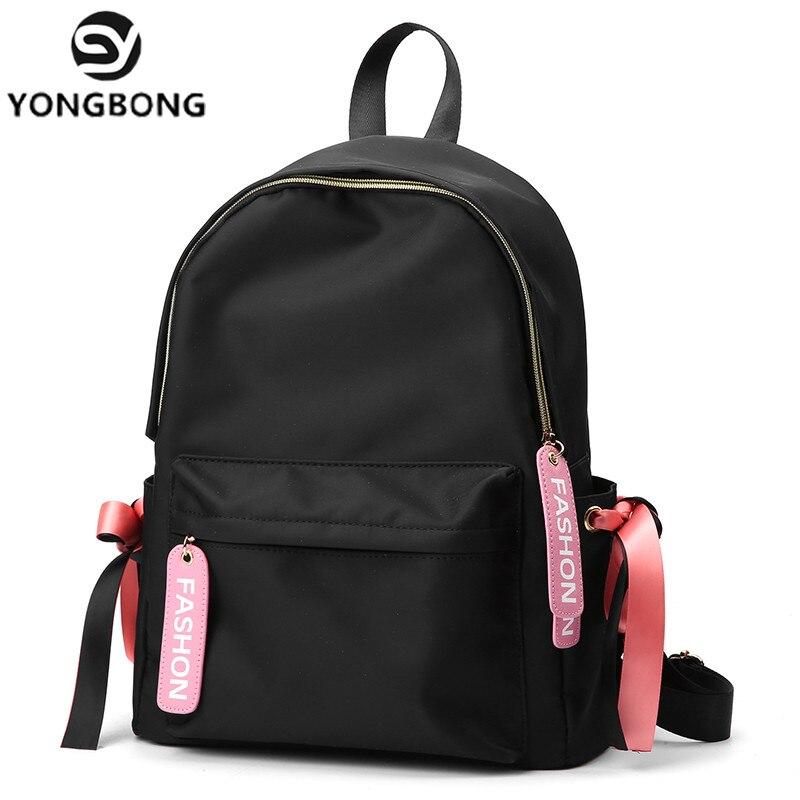 YONGBONG grande capacité sac à dos femmes Preppy sacs d'école pour adolescents femme Nylon sacs de voyage filles Bowknot sac à dos Mochilas-in Sacs à dos from Baggages et sacs    1