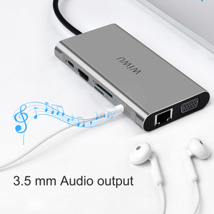 Image 4 - WIWU 10 in 1 USB Hub voor MacBook USB C naar HDMI/VGA/RJ45 Thunderbolt 3 Adapter voor dell/Samsung/Huawei P20 Pro Type c USB 3.0 Hub
