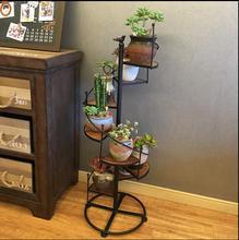 Flower frame iron art solid wood floor multi-layer balcony living room multi-purpose flower-pot stand