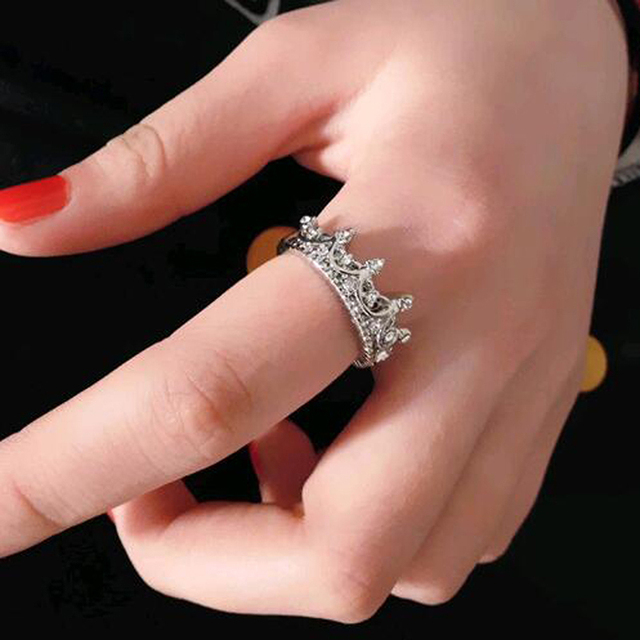 Crown Open Ring Rose Gold Princess Crown Rings For Party And Wedding 5