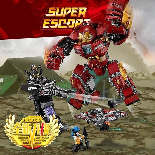 07102 420 peças de Construção Blocos tijolos Super-heróis Homem De Ferro anti-Hulk modelo Brinquedos do bebê Brinquedos Educativos DIY Compatível com legoings