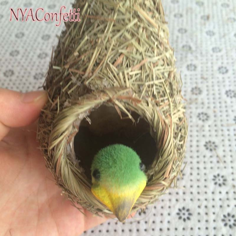 Nest+ Bird/Set,3Sets/lot Artificial Straw Hanging Birds Nest With Mini Foam Birds,Wedding Decorations,Christmas Home ornament