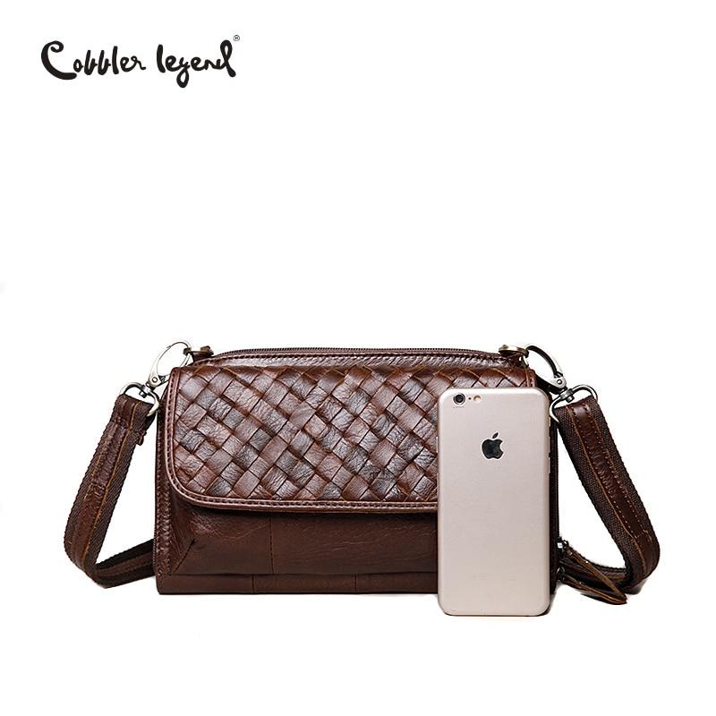 de7b140f92 Cobbler Legend Brand Woven Genuine Leather Shoulder Bag Women Knitting  Pattern Small Handbag Casual Flap Bag Lady Crossbody-in Shoulder Bags from  Luggage ...