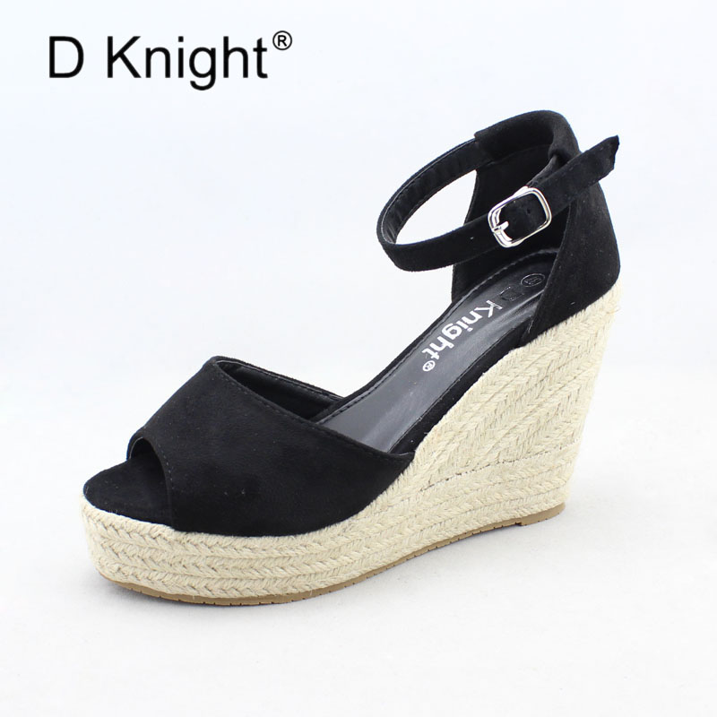 New Concise Platform High Heels Women Rome Wedge Sandal Ladies Casual Open Toe Ankle Strap Straw Braid Wedges Gladiator Sandals new 2018 women open toe flip flops fashion ankle strap gladiator sandals women big size 34 43 ladies casual flat rome sandals