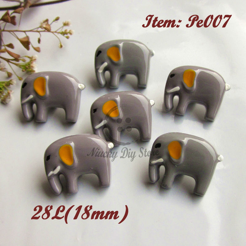 Bionic buttons 24pcs Elephant shape buttons eco-friendly animal cartoon buttons for Diy craft decorative accessories