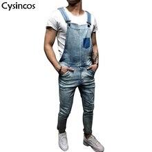 Cysincos Новый 2019 Мужская Мода Повседневная Джинсовый Комбинезон Тонкий Модные Комбинезоны для