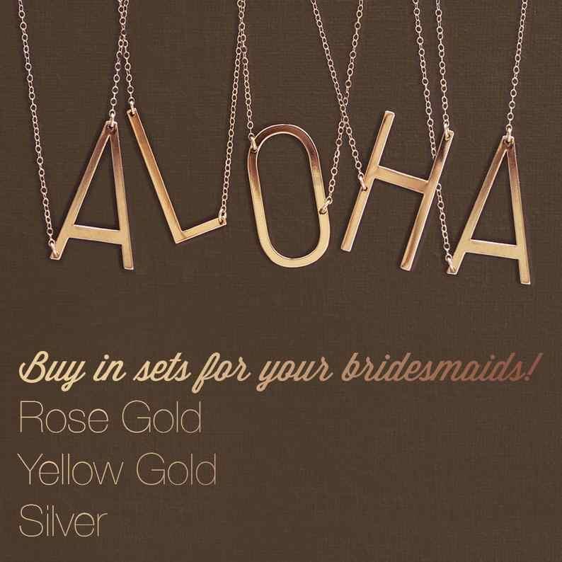 Grand collier Initial 100% bijoux en acier inoxydable grand collier lettre A-Z or collier personnalisé monogramme collier cadeaux