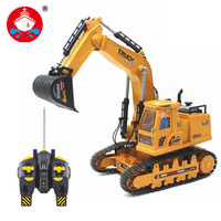 RC Excavator 7CH Wireless Remote Control Toy RC Truck Engineering Vehicles Machine RC Tank Construction Toy With Red Light