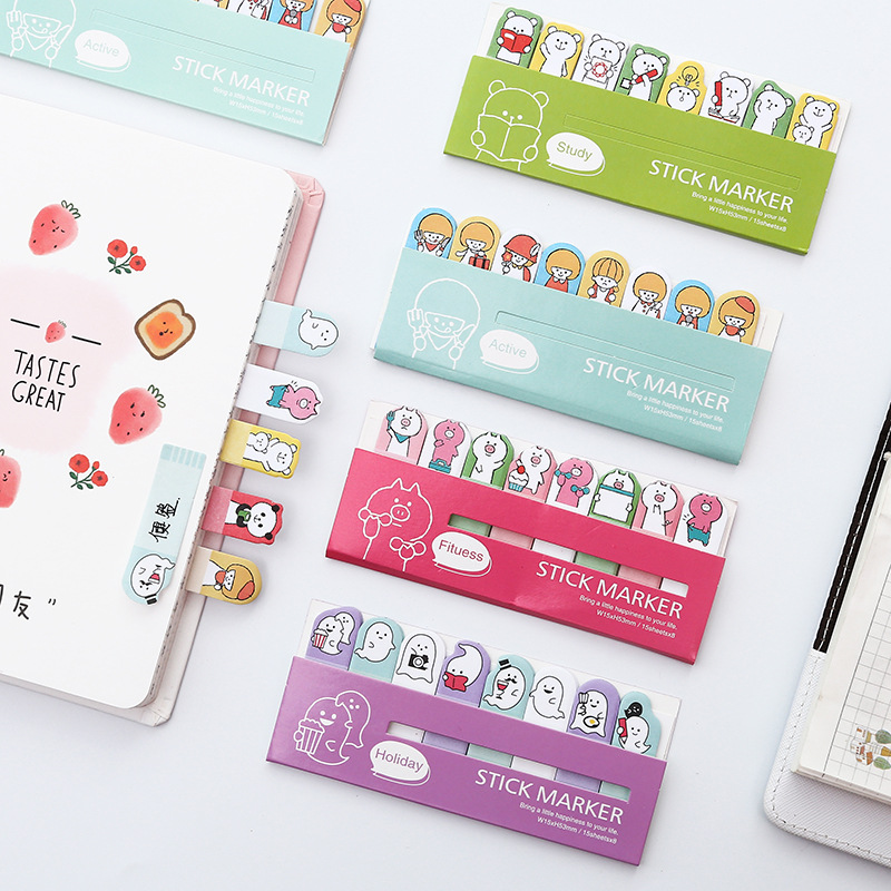 120-160 Sheets Cute Sticky Notes Cartoon Animals Post It Stick Marker Kawaii Memo Pads For Students Stationery Learing Office