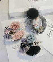 Korea Handmade Vintage Cloth Flower Bowknot Tassel Crystal Badge Brooches Pins Fashion Jewelry Woman Accessories-JQGWBH048E