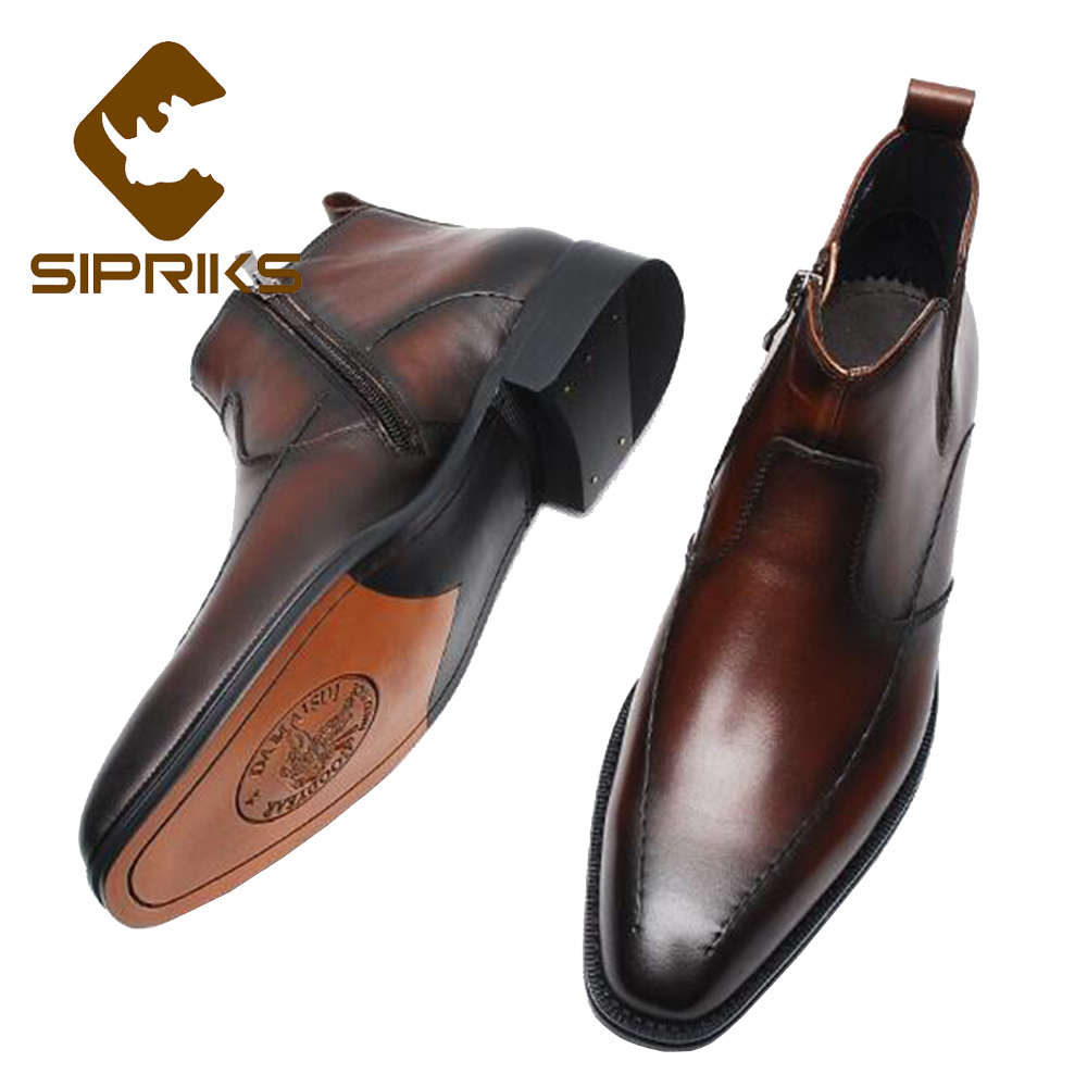 Sipriks Mens Goodyear Welt Boots Imported Itlian Leather Zipper Boots Patina Leather Indian Work Boots Fashion Formal Ankle Shoe стоимость