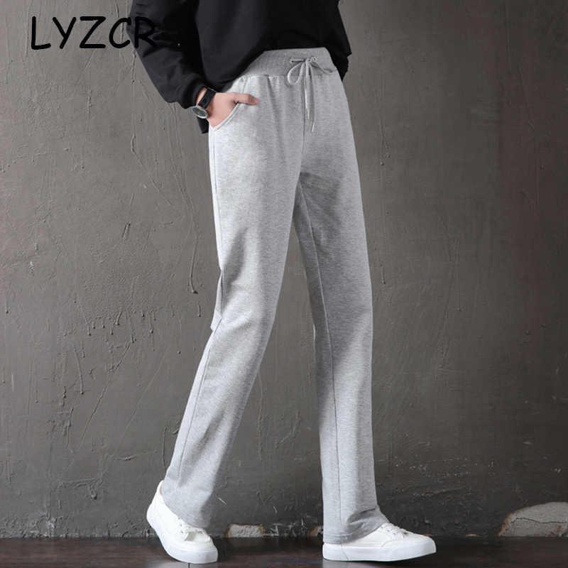 Lyzcr Pantalones Rectos De Algodon Para Mujer Pantalon De Chandal Informal Holgado De Talla Grande Para Verano Pantalones Y Pantalones Capri Aliexpress