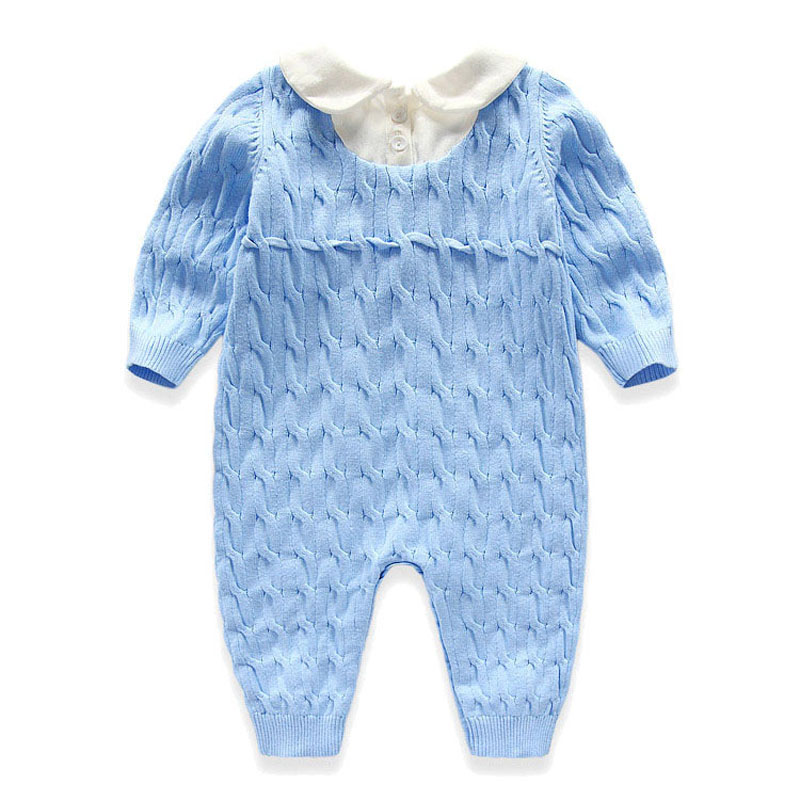 3bfd4407421e Hot Spring Autumn Blue Baby Knitting Rompers baby boy clothes baby ...