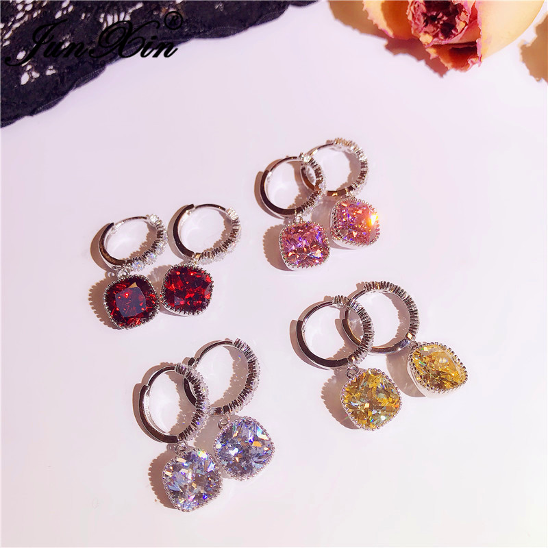 JUNXIN Cute Pink Yellow Red White Zircon Square Earrings For Women Silver Color Small Princess Crystal Wedding Hoop Earrings