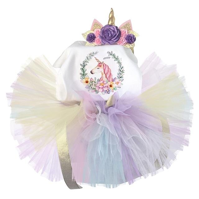 929788b8d Toddler Girls Unicorn Party Dress Baby Girl 1 Year Birthday Rainbow Tulle  Dress Unicorn Headband Kids Dresses For Girl Clothes