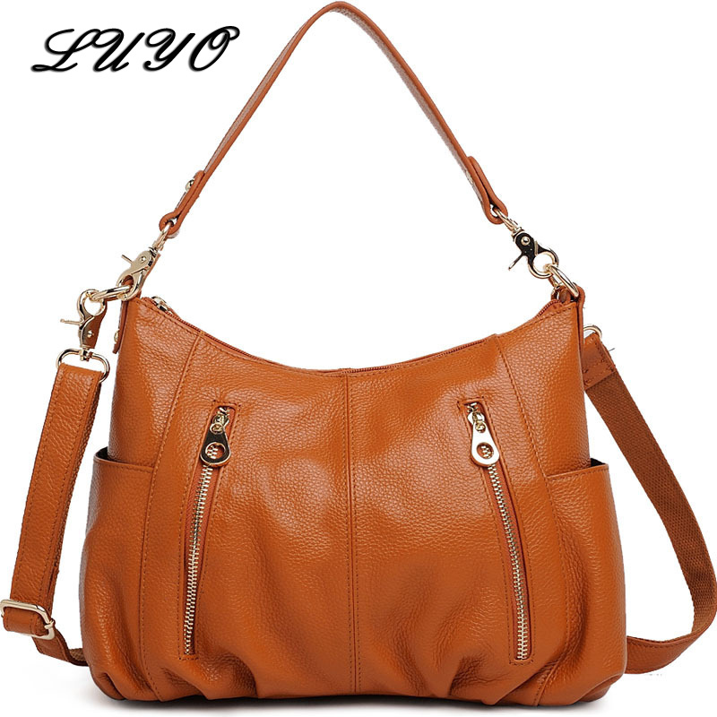 LUYO Genuine Leather Bags For Women Shoulder Bag Female Hand Bag Luxury Handbags Women Messenger Bags Designer Bolsas Postman luxury genuine leather handbags women bags designer female chain tote bag shoulder crossbody bags for women messenger bag bolsas