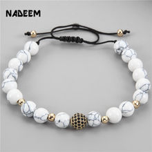 Newest 8mm White Howlite Stone & CZ Copper Ball Braiding Macrame Bead Bracelet Adjustable Anil Arjandas Weaving Mens Bracelet(China)