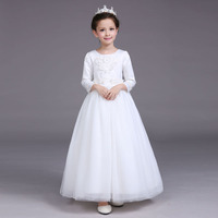 Elegant Autumn Winter White Long Sleeves Appliques Flower Girls Party Dress Kids Baby Teenager Baptism Birthday Communion Dress