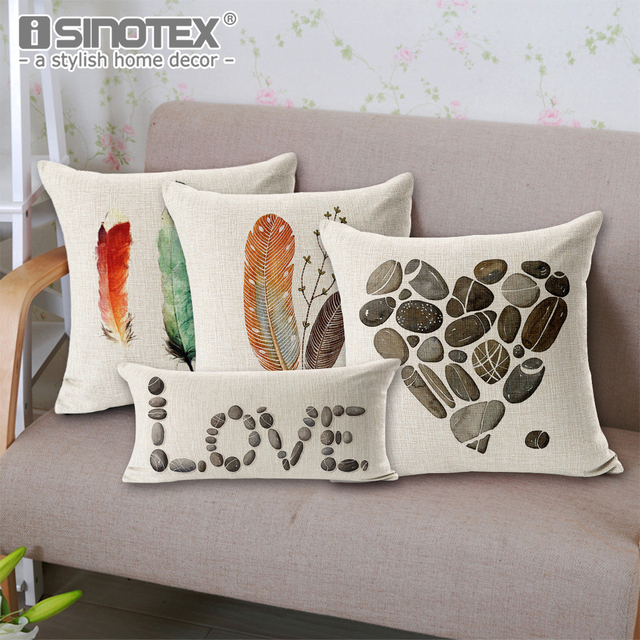Pea Feather Stone Printed Cushion Cover Art Decor Throw Pillow Cases Beach Scenery Home Sofa Seat