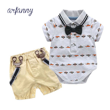 2019 Fashion Baby Boys clothes short sleeve Triangle Ass Bow ti T shirt+pantse gentle man baby clothing set newborn kid suit