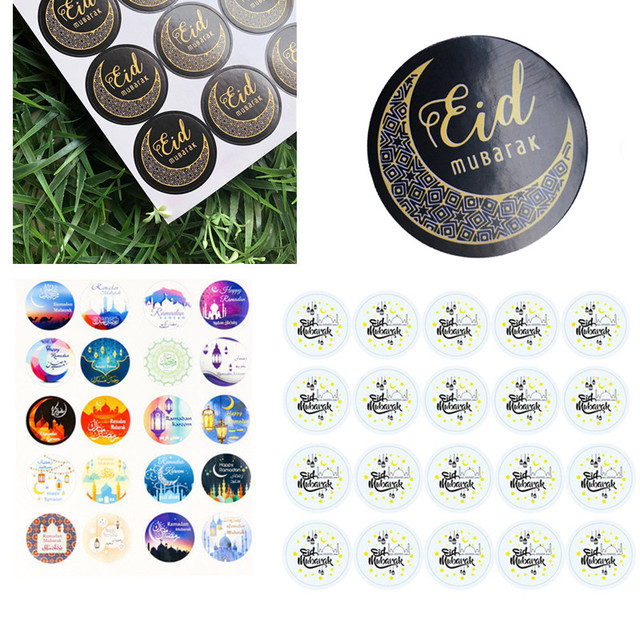 100pcs Eid Mubarak Decoration Paper Sticker Lable Seal 4cm Gift Sticker Islamic Muslim Mubarak Decoration Ramadan Supplies