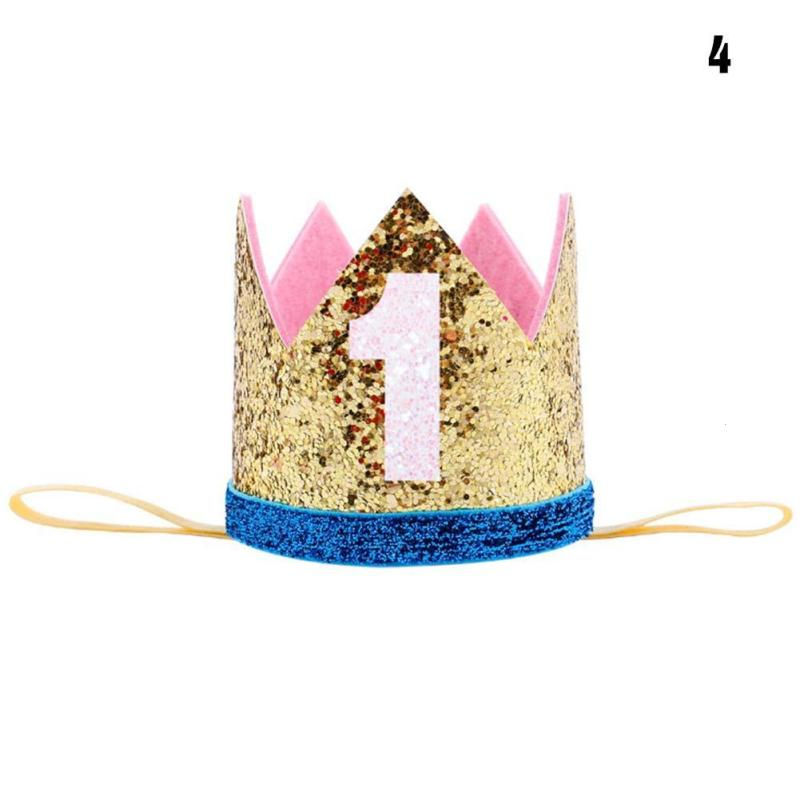 1PCS First Birthday Party Hats Cap Glitter Hat Princess Crown Headband 1st 3rd 18th Baby Kids Hair Accessories Decor In From Home