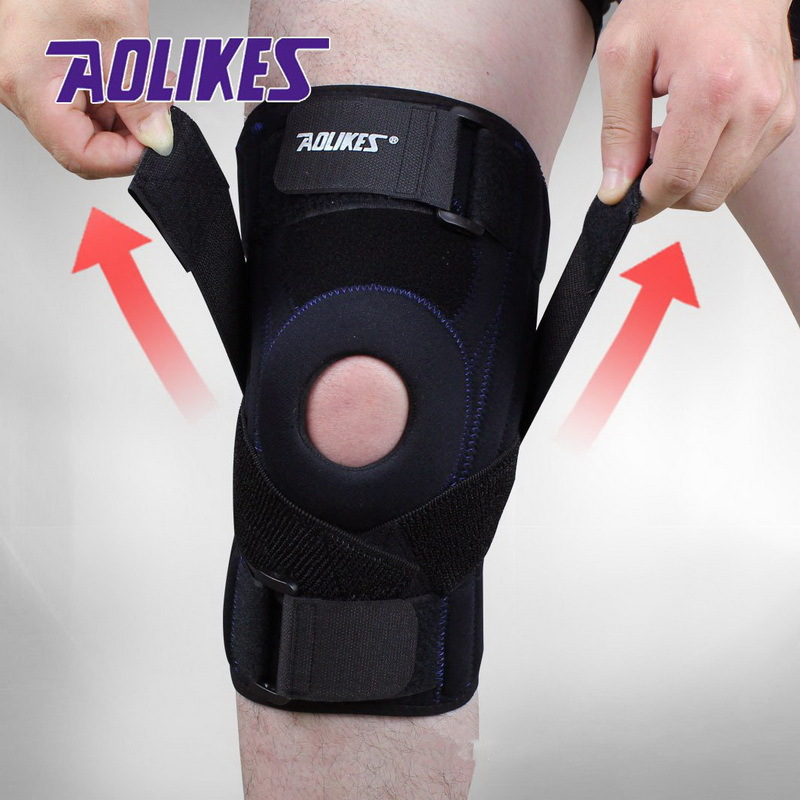 AOLIKES 1PCS Adjustable Hinged Wraparound <font><b>Knee</b></font> Brace Patella Compression <font><b>Knee</b></font> Supports Kneepad Relief for Football Basketball