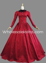 19th Century Victorian Red Cotton Period Dress Masquerade Ball Dress Theatre Outfit Dress