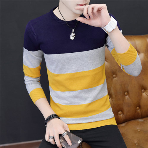 2019 Casual Autumn Men Pullover Sweaters O Neck Long Sleeve Knitted Slim Fit Striped Chompas Para Hombre Sueter Masculino