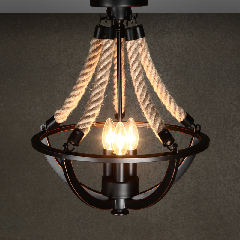 American pastoral loft rope iron ceiling lamps rope simple retro iron art personality living room bedroom lighting